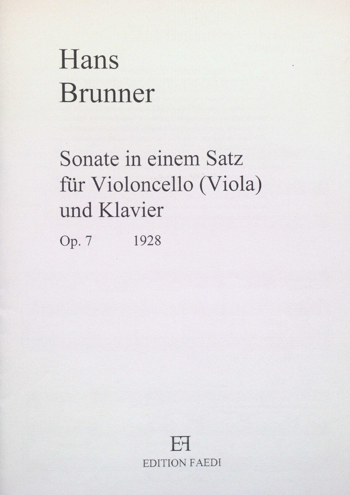 Sonate in einem Satz, op. 7, für Violoncello (Bratsche) und Klavier