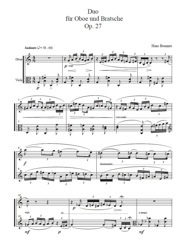 Duo, op. 27, für Oboe und Bratsche