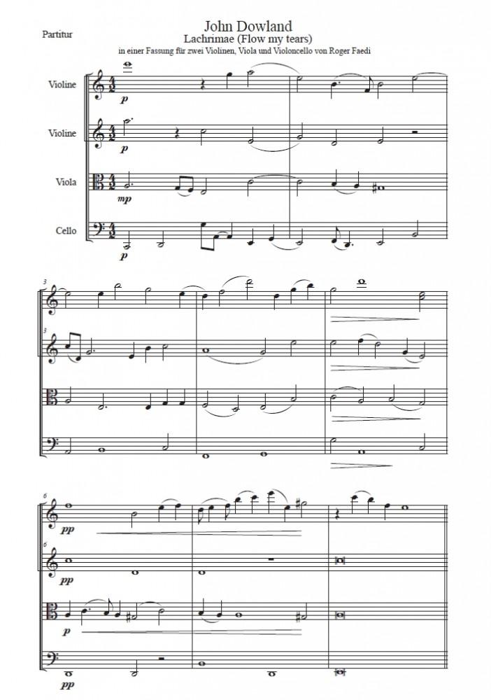 Lachrimae (Flow my tears), Bearbeitung für zwei Violinen, Bratsche und Violoncello