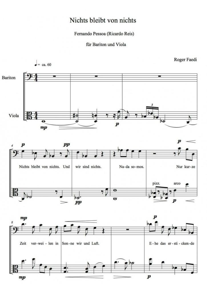 Vier Lieder auf Gedichte von F. Pessoa, für Bariton und Bratsche