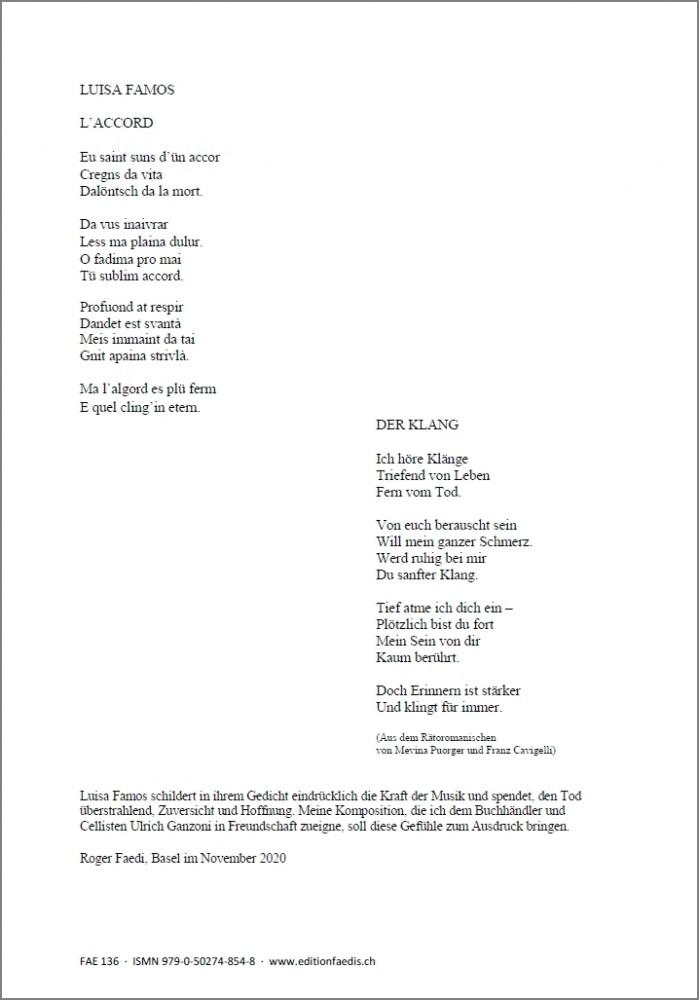 L'ACCORD, op. 89, für Sopran, Bratsche und Violoncello