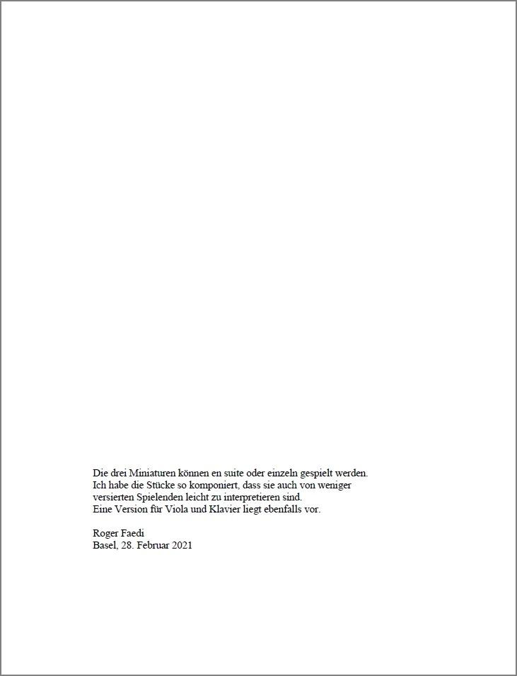 Drei lyrische Miniaturen, op. 92a, for Violoncello and Piano