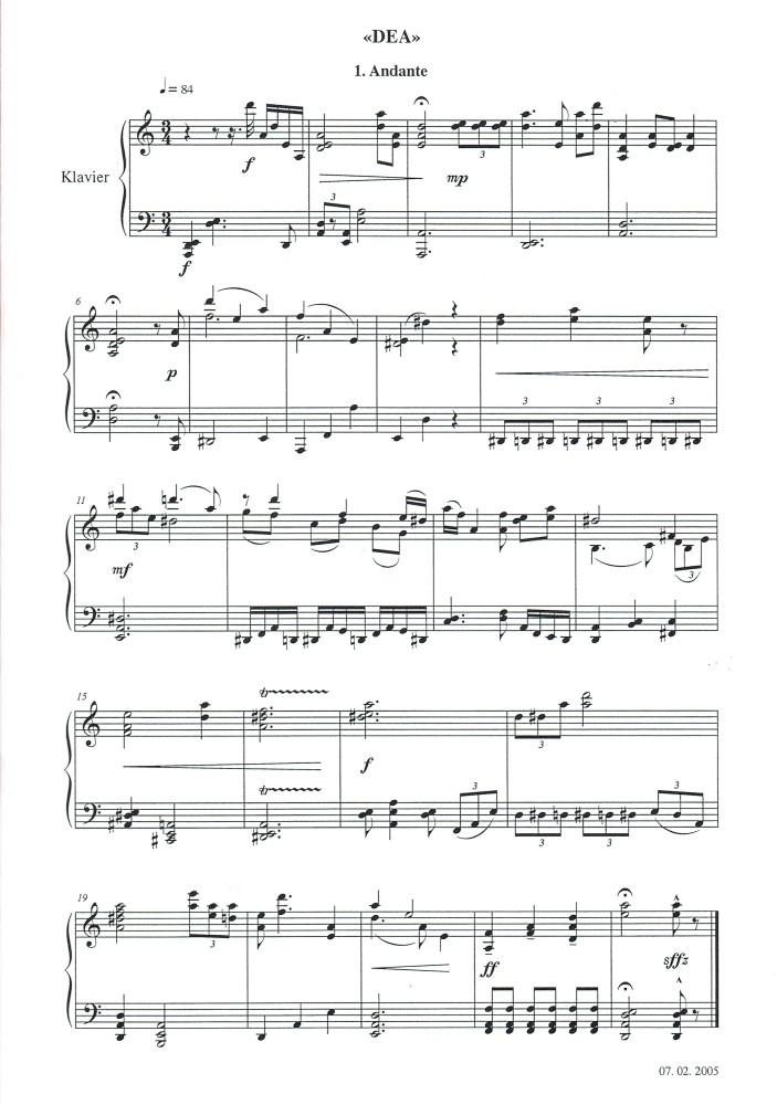 DEA, op. 1, für Klavier