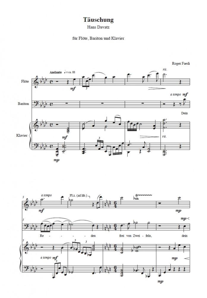 Täuschung, op. 11a, für (Flöte), Bariton und Klavier