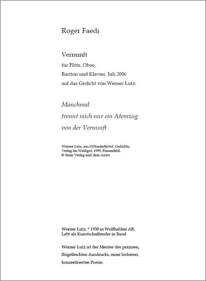 Vernunft, op. 10, für Flöte, Oboe, Bariton und Klavier