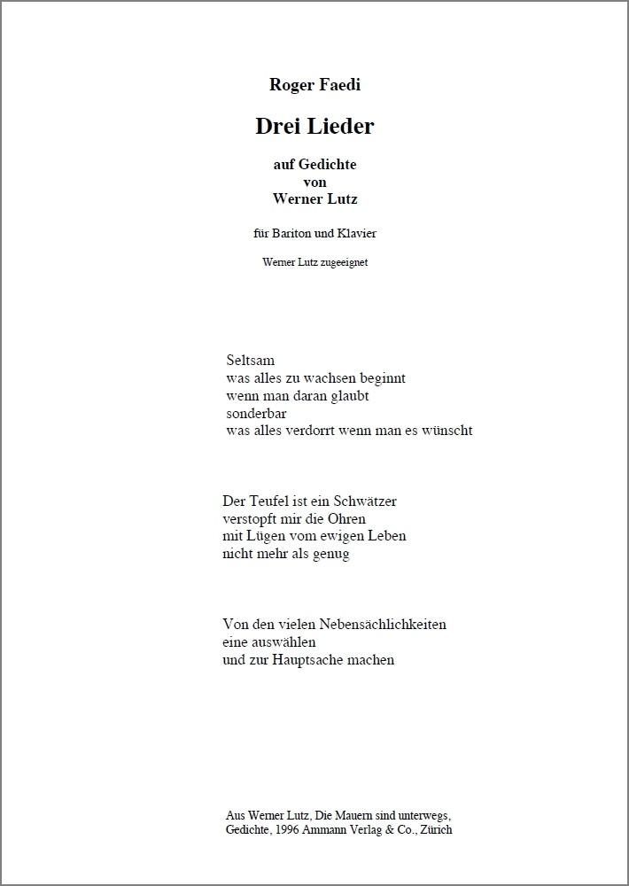 Drei Lieder, op. 6, für Bariton und Klavier