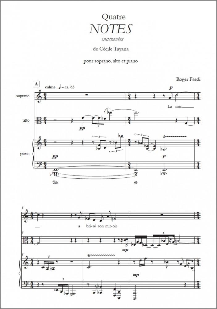 Quatre NOTES inachevées, op. 57, für Sopran, Viola und Klavier