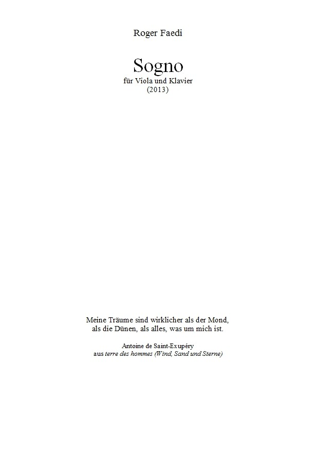 Sogno, op. 35, für Violoncello und Klavier