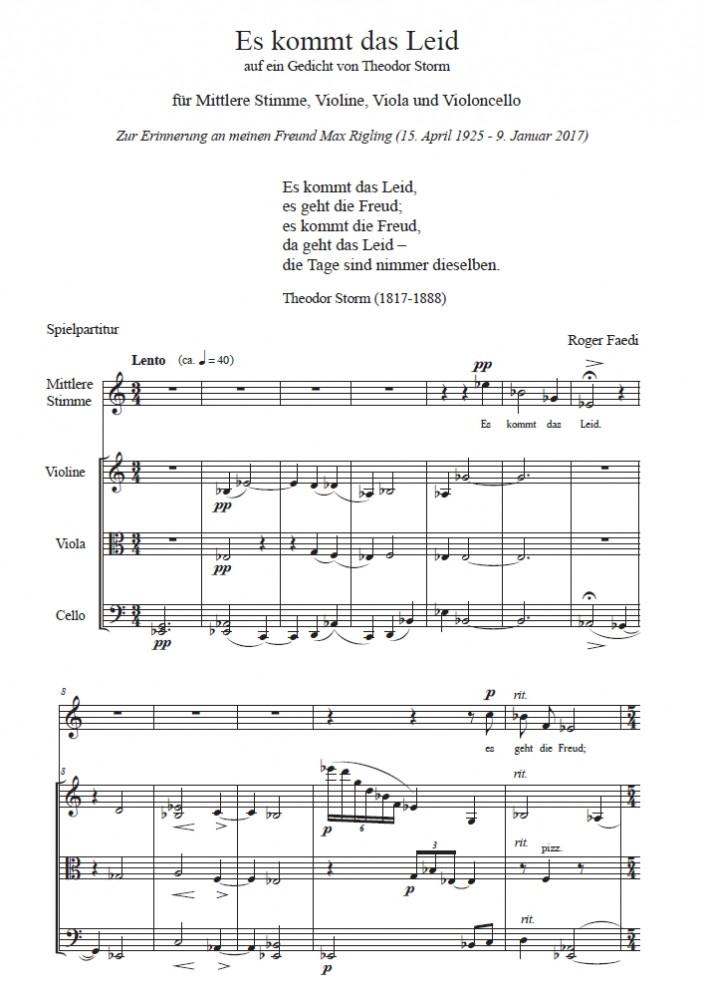 Es kommt das Leid, op. 66, für mittlere Stimme, Violine, Viola und Violoncello