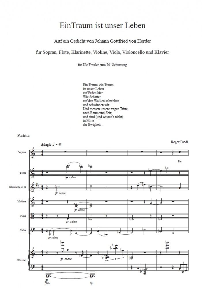 Ein Traum ist unser Leben, op. 76, für Sopran, Flöte, Klarinette, Violine, Viola, Violoncello und Klavier