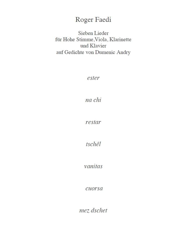 Sieben Lieder, op. 85, für hohe Stimme, Bratsche, Klarinette und Klavier