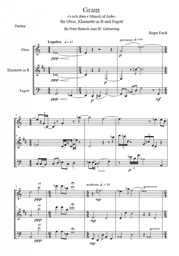 Gram, op. 68, für Oboe, Klarinette und Fagott