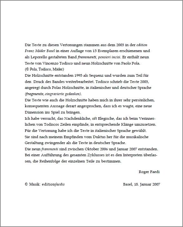 frammenti. pensieri incisi (Texte von Vincenzo Todisco, Holzschnitte von Paolo Pola) für Bariton, Violine, Bratsche und Klavier