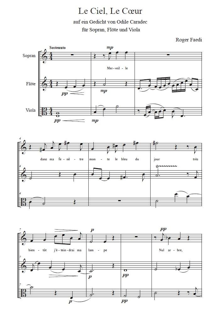 Le Ciel, Le Coeur, op. 54, für Sopran, Oboe und Bratsche