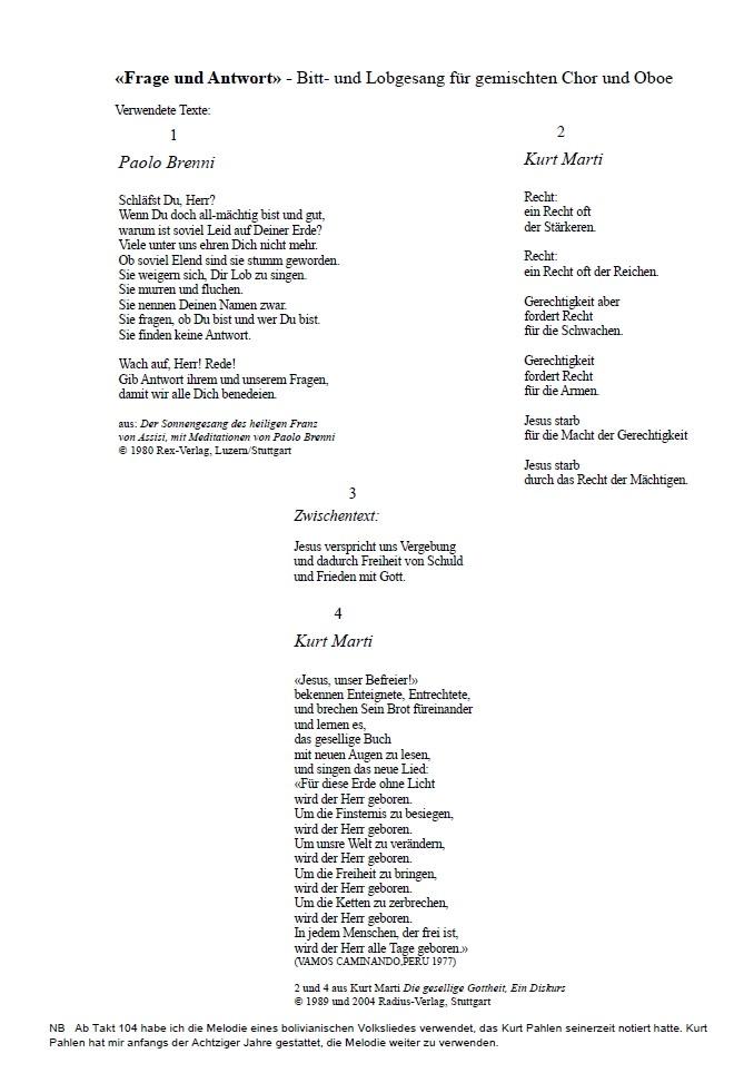 Frage und Antwort, op. 21, für gemischten Chor und Oboe