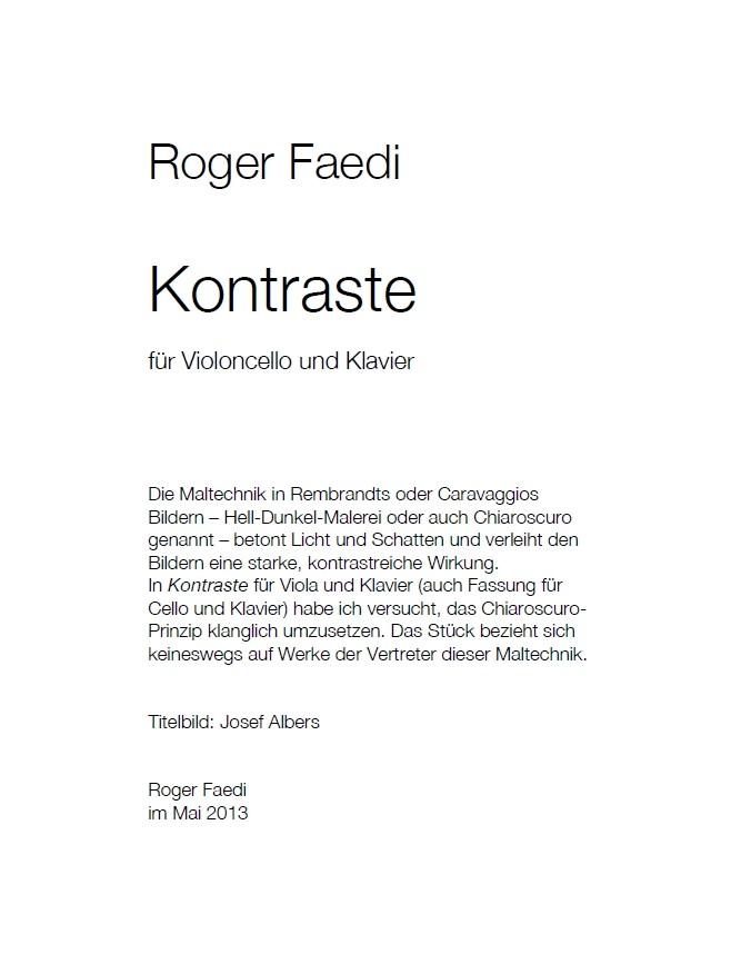 Kontraste, op. 36a, für Violoncello und Klavier