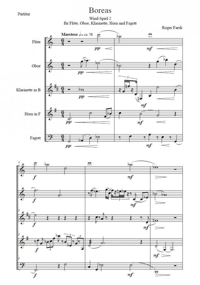 Boreas, op. 53, für Flöte, Oboe, Klarinette, Horn und Fagott