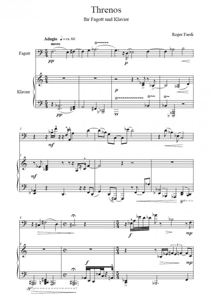 Threnos, op. 43, für Fagott und Klavier