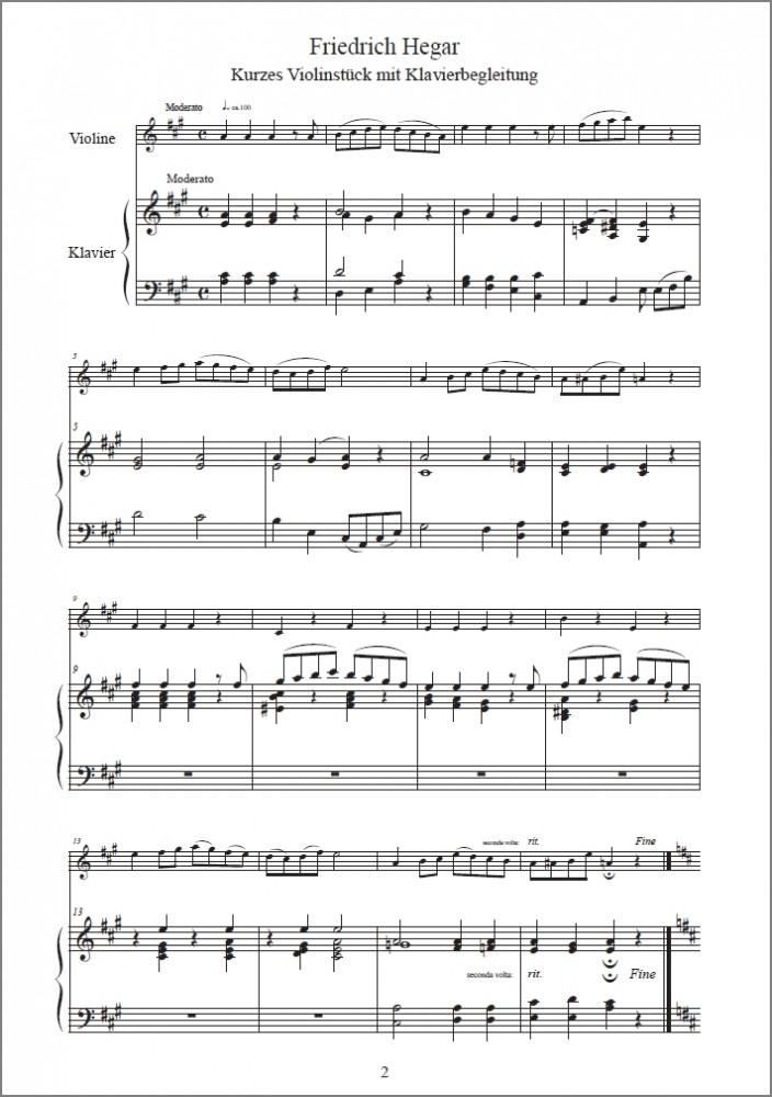 Kurzes Violinstück mit Klavierbegleitung, für Violine und Klavier